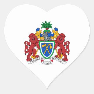 Gambia vapensköld hjärtformat klistermärke