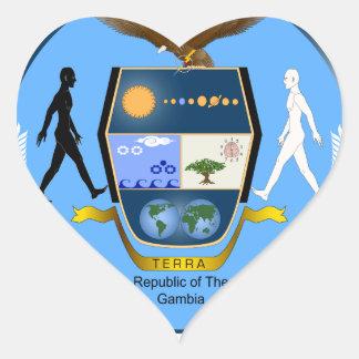 Gambia vapensköldGM Hjärtformat Klistermärke