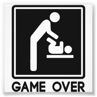 Game Over New Baby for Parent Dad Photographic Print