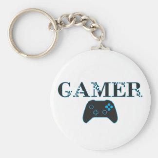 GAMER (blått) Rund Nyckelring