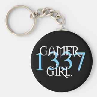 Gamer. Flicka. Keychain 1337 Rund Nyckelring