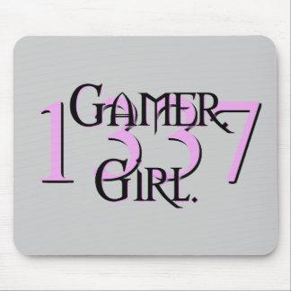 Gamer. Flicka Mousepad 1337 Musmatta