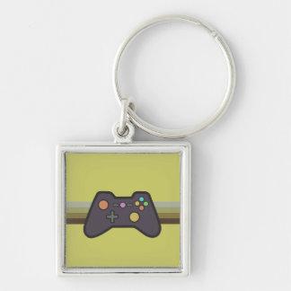 Gamer Fyrkantig Silverfärgad Nyckelring