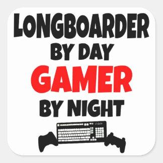 Gamer Longboarder Fyrkantigt Klistermärke