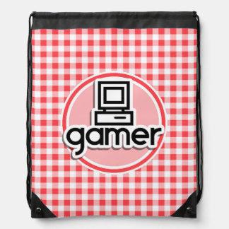 Gamer; Röd och vitGingham Backpack