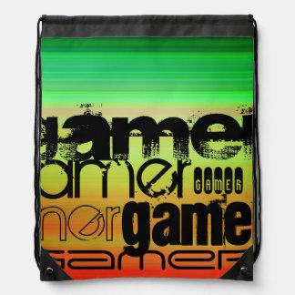 Gamer; Vibrerande grönt, orange & gult Ryggsäckar