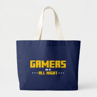 Gamers gör det all natt jumbo tygkasse