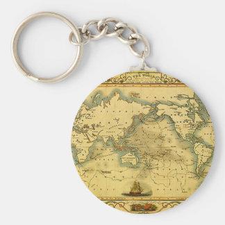 Gammal antik världskarta rund nyckelring