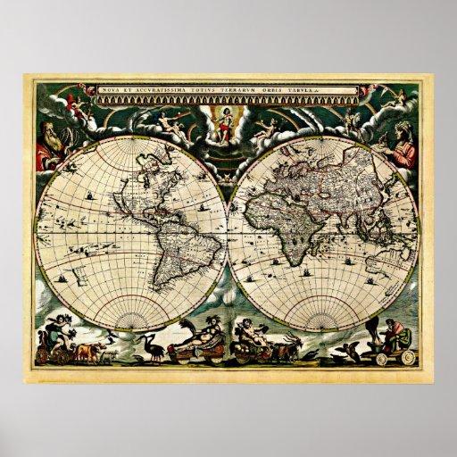 Gammal återställd världskarta #2 posters