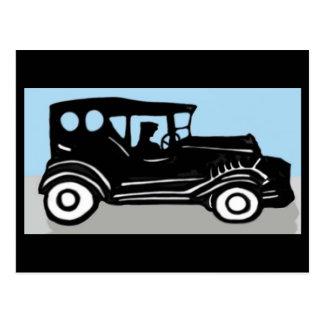 Gammal bil och chaufför vykort
