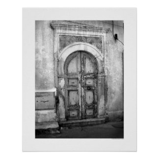 Gammal dörr i Tripoli (B&W) Poster