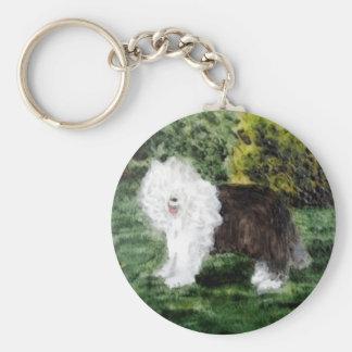 Gammal engelsk Sheepdogmålning Rund Nyckelring