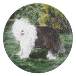 Gammal engelsk Sheepdogmålning Tallrik