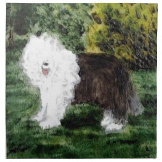 Gammal engelsk Sheepdogmålning Tygservett