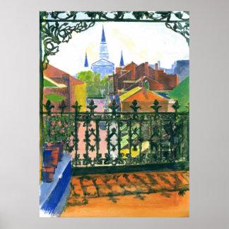 Gammal fransk inkvarterar balkongen New Orleans Poster