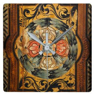 gammal gotisk hist för medeltida wood fyrkantig klocka