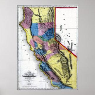 Gammal Kalifornien karta 1851 Poster