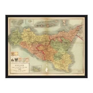 Gammal karta av Sicily från 1900 (den Sicilia Canvastryck