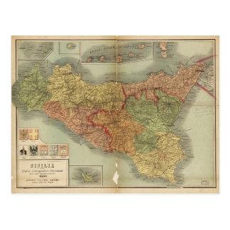 Gammal karta av Sicily från 1900 (den Sicilia Vykort