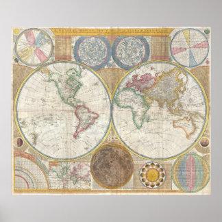 Gammal karta av världen affisch