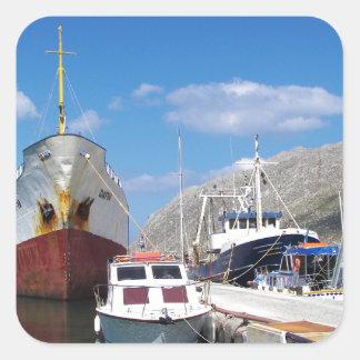 Gammal kustfartyg Dafni Fyrkantigt Klistermärke