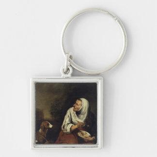 Gammal kvinna med hunden fyrkantig silverfärgad nyckelring