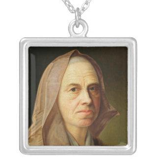 Gammal kvinna silverpläterat halsband