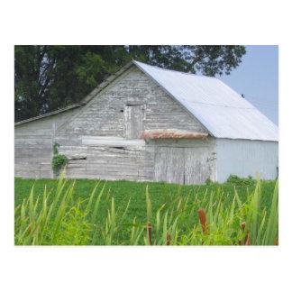 Gammal ladugård i ett grönt fält vykort
