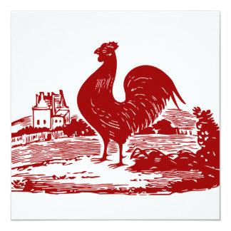 Gammal lantbrukarhemvintage för röd tupp fyrkantigt 13,3 cm inbjudningskort