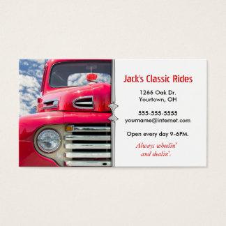 Gammal lastbil för röd klassiker visitkort