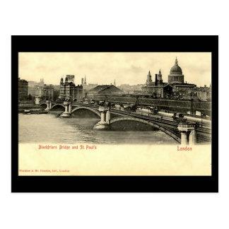 Gammal London vykort - Blackfriars överbryggar