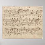 Gammal musik noter - Bach musiklakan Posters