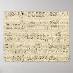 Gammal musik noter - Chopin musiklakan Posters