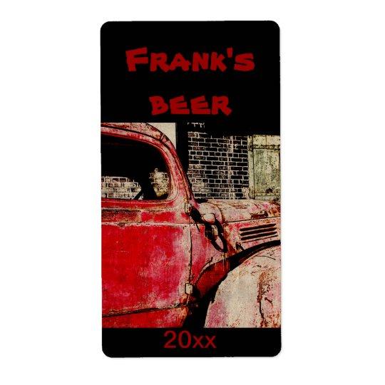 Gammal röd rostad lastbilölflaskaetikett fraktsedel