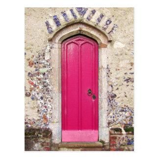 Gammal rosa dörr vykort