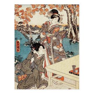 Gammal rulla för japansk vintageukiyo-egeisha vykort