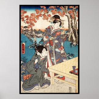 Gammal rulla för kall japansk vintageukiyo-egeisha poster