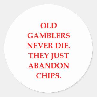 gammal spelare rund klistermärke