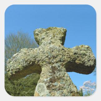 Gammal stenkorkyrka Cornwall England Fyrkantigt Klistermärke