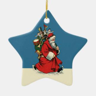 Gammal-stil pappa jul med traditionella leksaker julgransprydnad keramik