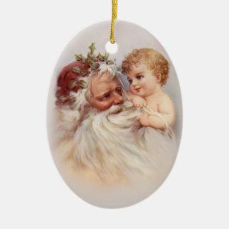 Gammal värld Santa och Cherub Juldekoration