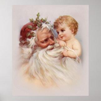 Gammal värld Santa och Cherub Poster