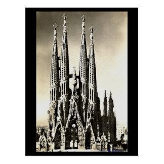 Gammal vykort - Barcelona, Sagrada Familia