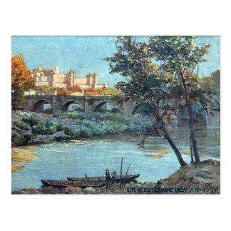 Gammal vykort - Carcassonne, Aude, frankrike