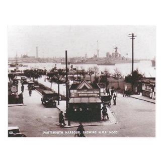 Gammal vykort - HMS-huva, Portsmouth hamn