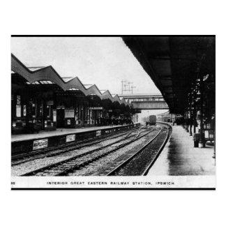 Gammal vykort - Ipswich järnväg station