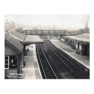 Gammal vykort - järnväg station, Heyford, Oxon