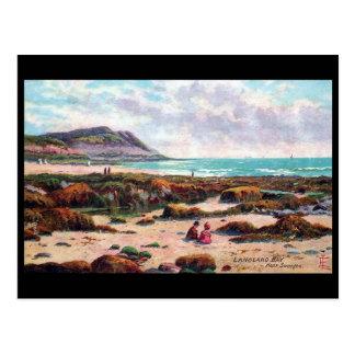 Gammal vykort - Langland fjärd, nära Swansea