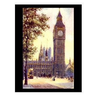 Gammal vykort - London, stora Ben