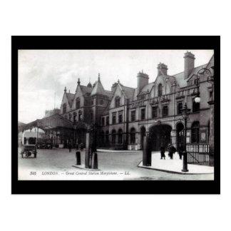 Gammal vykort - Marylebone station, London